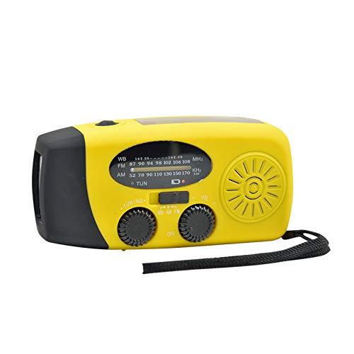MARIJEE Radio de manivela de emergencia, portátil autoalimentado Am/Fm Wind Up Radio solar, recargable por USB, 1000 mAh con linterna para camping, senderismo, pesca al aire libre (amarillo)