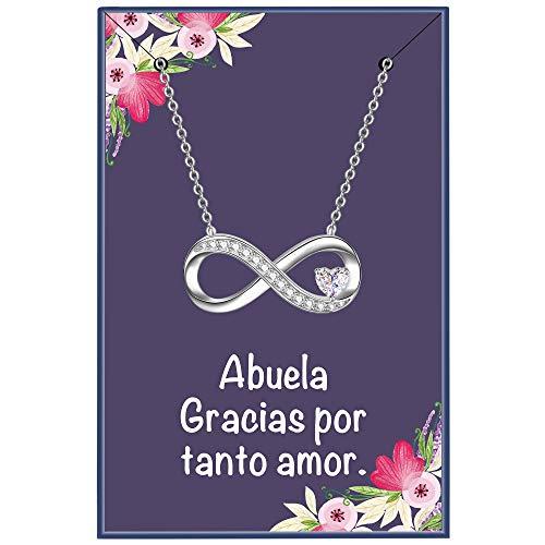 ENGSWA Collar Mujer Plata de Ley 925 Colgante Infinito con Corazón Regalo para Abuela