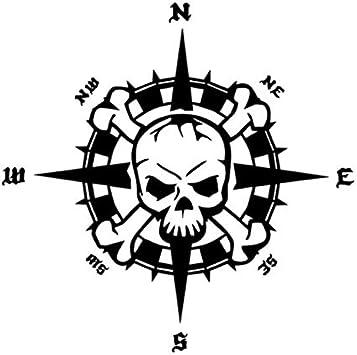 Generic Kompass Totenkopf Aufkleber 20x20cm Windrose Aufkleber Für Biker Caravan Wohnmobil Wohnwagen Auto Oder Als Wand Tattoo 35 5 Dunkelgrau Matt Garten
