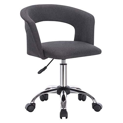WOLTU BS30dgr Chaise de Bureau Tabouret à Roulette en Lin,Tabouret de Travail Tabouret Roulant avec accoudoir, réglable en Hauteur,Gris Foncé