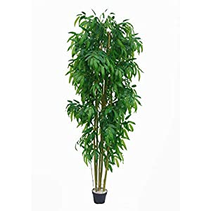 AMERIQUE Gorgeous Tech, w Gorgeous & Unique 6 Feet Dense Bamboo Tree Artificial Plant with Nursery Plastic Pot, Real Touch Technology, with UV Protection, Super Quality, 6′, Green