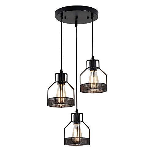 Leuchten Industrielle 3-Licht Pendelleuchte, Metalldrahtkäfig Kronleuchter Vintage Hängende Deckenleuchte für Kücheninsel Esstisch Bauernhaus Flur Schlafzimmer
