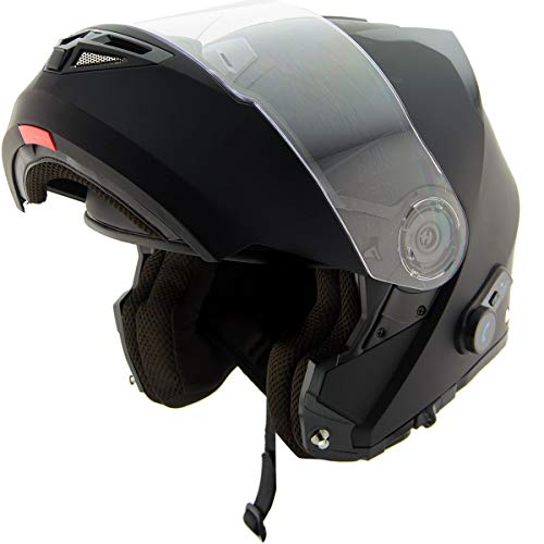 Hawk H7005 Solid Matte Black Modular Motorcycle Helmet with Blinc Bluetooth System - Large