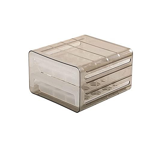 yijun Utensilios de cocina Caja de almacenamiento de huevos Soporte de cocina nevera doble cajón contenedor de huevos (Color: gris, tamaño: 24 x 21,5 x 14 cm)