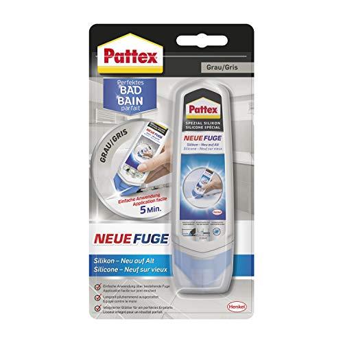 Pattex Perfektes Bad Neue Fuge, Silikon Dichtmasse für neue Fugen in nur einem Schritt, Sanitärsilikon zum Schutz vor Schimmel, Fugensanierung Komplett-Set, 1 x 100ml