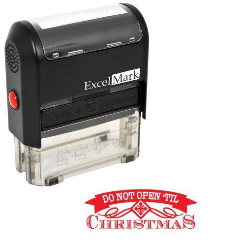 Self-Inking Christmas Rubber Stamp - Do Not Open Til Christmas - Red Ink