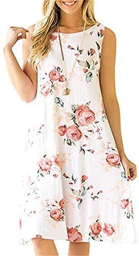 Summer Beach Dresses for Women Tshirt Sundresses Boho Casual Sleeveless Floral Shift Pockets Swing Loose Damask White Small