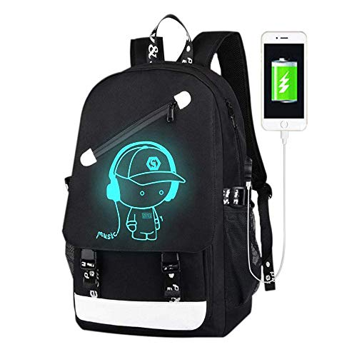 School Bags,Anime Luminous Backpack USB chargeing Port Laptop Bag Handbag Canvas Shoulder Daypack for Cool Girls Boys Teens Outdoor Backpack (Black-Music)