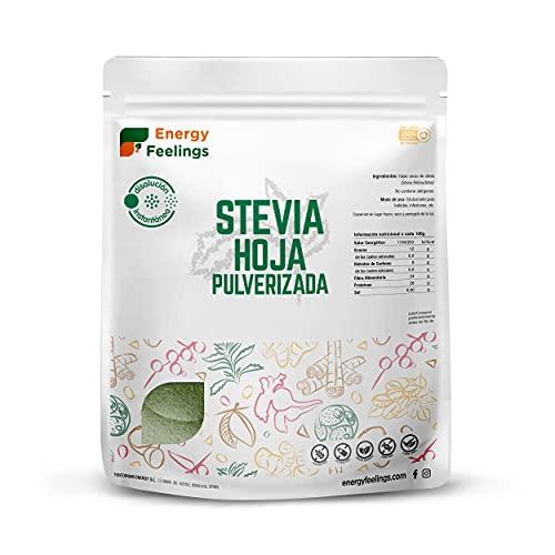 Energy Feelings, Estevia natural en polvo, Stevia Rebaudiana Bertoni, Edulcorante y Endulzante Natural, Stevia 100% Natural, 0% Azúcares, 1 Kg