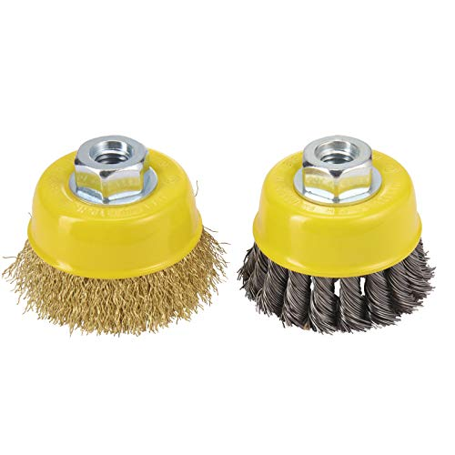 HOYIN Wire Cup Brush-2 Piece Grinder Brush Kit- Twist Knotted
