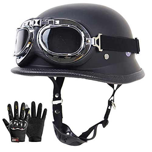 Retro Casco Moto Abierto Hombre Mujer ECE Homologado Cascos Moto Half Helmet con Visera Casco Moto Jet para Scooter Mofa Crash, Regalo: Guantes (Color : Matt Black, Size : (XL/61-62CM))
