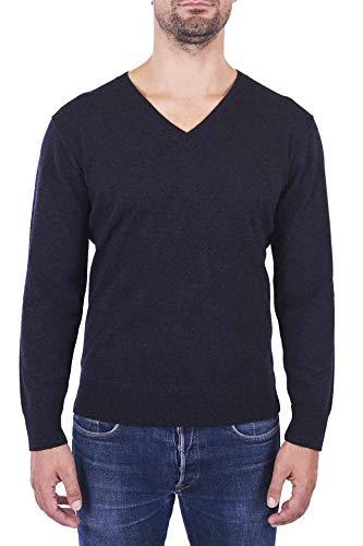 CASH-MERE.CH, maglione da uomo in 100% cashmere a 2 fili con scollo a V Carbone L