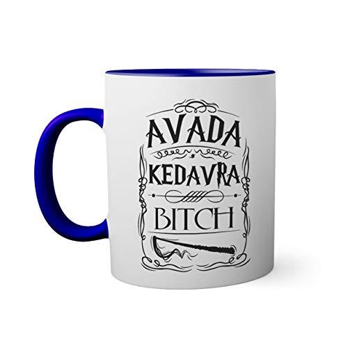 Trendy Avada Kedavra Bitch Taza de color azul oscuro con mango a juego | Funny Novelty taza For Coffee Tea 330ml Mug