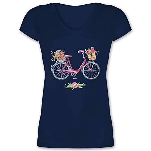 Vintage - Vintage Fahrrad Wasserfarbe Blumen - XL - Dunkelblau - t-Shirt Fahrrad Motiv Damen - XO1525 - Damen T-Shirt mit V-Ausschnitt