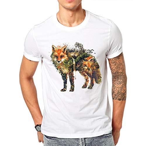 MKDLJY T Shirts T-Shirt À Manches Courtes Décontracté Motif Renard T-Shirt Décontracté pour Hommes Hipster Red Fox Tee À Col Rond Et À Manches Longues