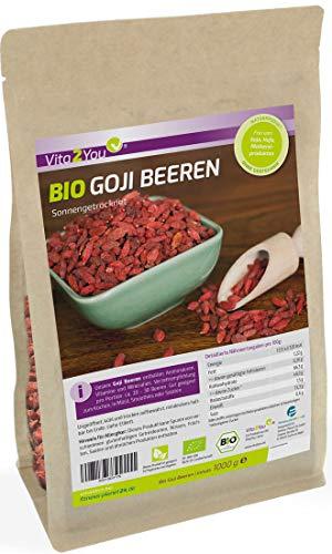 Bio Goji Beeren 1kg Zippbeutel - MHD: 31.12.2020 - ungeschwefelt - Ökologischer Anbau - Wolfsbeeren - 1000g - Premium Qualität
