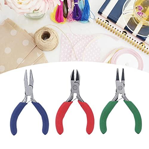 Alicates de punta redonda, mini alicates multifunción Alicates de punta de aguja de acero duro para joyería de bricolaje para hardware(3-piece set of pliers (random handle color))