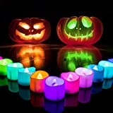 Homemory Small LED Candles, 7 Color Changing Flameless Tea Light Candles, Battery Operated Electric Candles, Pack of 24, White Base