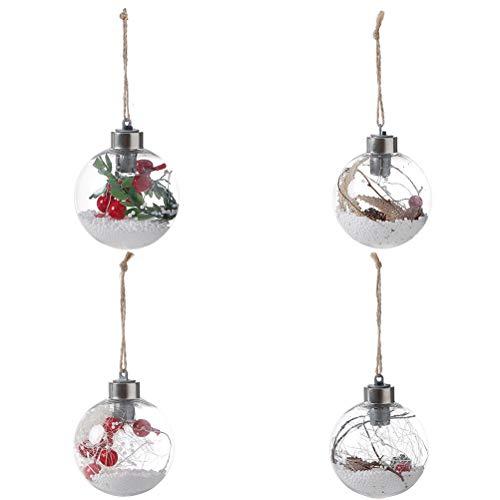 BESTOYARD 4pcs LED Weihnachtslicht Bälle batteriebetriebene hängende Lichter mit Jute Seil globale LED Draht hängendes Licht für Weihnachtsbaum-Dekoration