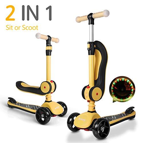 besrey 2-in-1 Kinderscooter Kinderroller, Kleinkinder Scooter. Mit klappbarem Sitz, verstellbarem Lenker und LED-Rädern. Geeignet für Kinder von 2-14 Jahren.