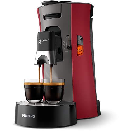 Philips CSA240/91 Machine à Café à Dosettes SENSEO Select Eco, Intensity Plus, Crema Plus, Fonction Memo - Rouge intense