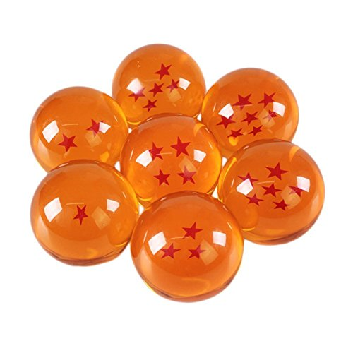 Collectible Large Crystal Acrylic Glass 7 Stars Balls, 7 Pcs with Gift Box, 76MM (3 in) in Diameter