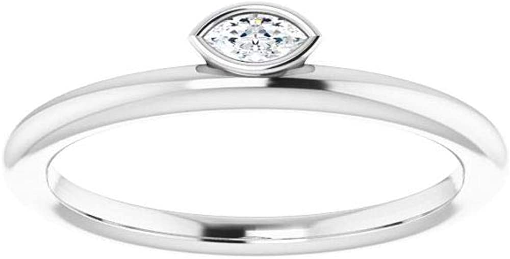 Solid 14k White Gold Solitaire .07 CT Diamond Asymmetrical Stackable Wedding Anniversary Ring Band