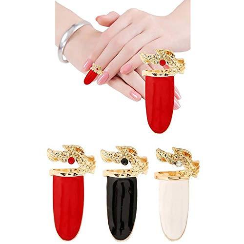 Brishow 3 anillos de uñas falsas para los dedos, decoración de Halloween, accesorios de arte de uñas, joyas para mujeres y niñas