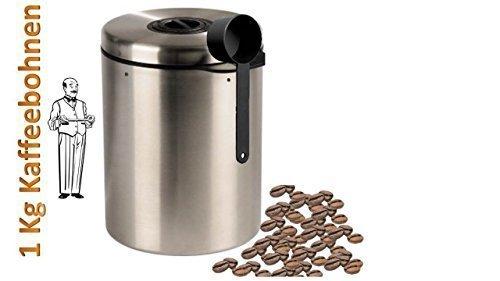 Vorratsdose passend für bis zu 1 KG Kaffeebohnen aus Edelstahl die Lösung von James Premium®
