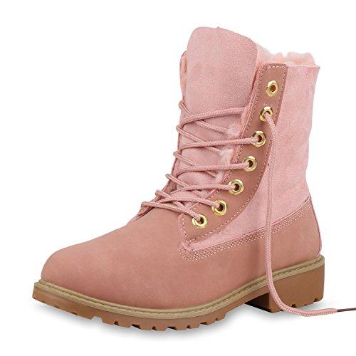 SCARPE VITA Damen Stiefeletten Worker Boots Warm Gefütterte Stiefel Outdoor Schuhe Kunstfell Profilsohle Booties Schnürschuhe 153829 Rosa Rosa 39