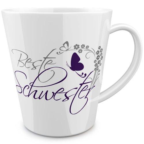 FunTasstic Beste Schwester (geschwungen) konische Tasse 100% handmade in Deutschland - zum Tee, Kaffee, als Geschenkidee mit Spruch, witzig, Küche Deko