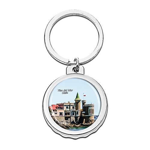 Hqiyaols Keychain Chile Wulff Schloss Vina del Mar. Cap Flaschenöffner Schlüsselbund Creative Kristall Rostfreier Stahl Schlüsselbund Reisen Andenken