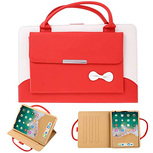 iPad Pro 11 2020 Case, TechCode Portable iPad Handbag Wallet Carrying Case PU Leather Magnetic Flip Stand Cover with Handle Pocket Sleeve for iPad Pro 11 1st/ 2nd Gen (Red)