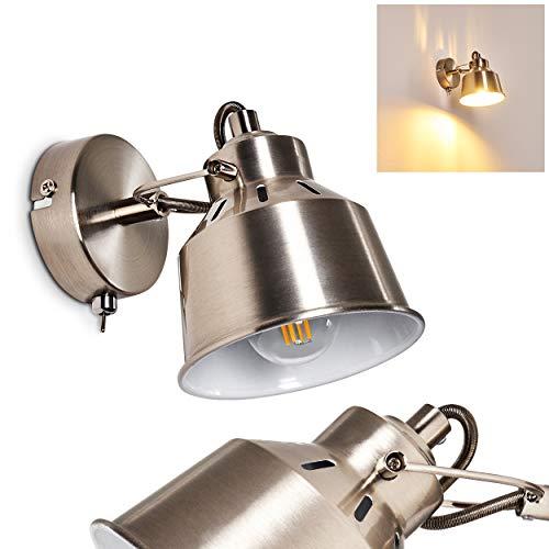 Wandlamp Safari, verstelbare wandlamp van metaal in geborsteld staal/wit, 1 vlam, 1 x E14 stopcontact, max. 40 Watt, wandspot in retro/vintage uitvoering, geschikt voor LED-lampen