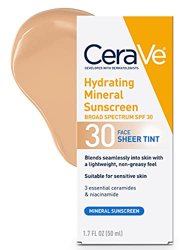 CeraVe Tinted Sunscreen with SPF 30   Hydrating Mineral Sunscreen With Zinc Oxide & Titanium Dioxide   Sheer Tint for Healthy Glow   1.7 Fluid Ounce