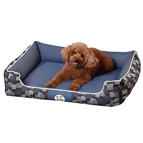 LINZXU hondenbed, hondenmand met omkeerbaar kussen, verhoogde rand gezellig ademend wasbaar waterdicht voor thuis onderweg in de auto