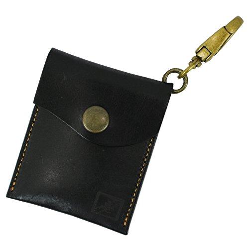 フック付 ヌメ革 携帯灰皿 レザー ポケット サイズ 高級 革 ポータブル (ブラック)