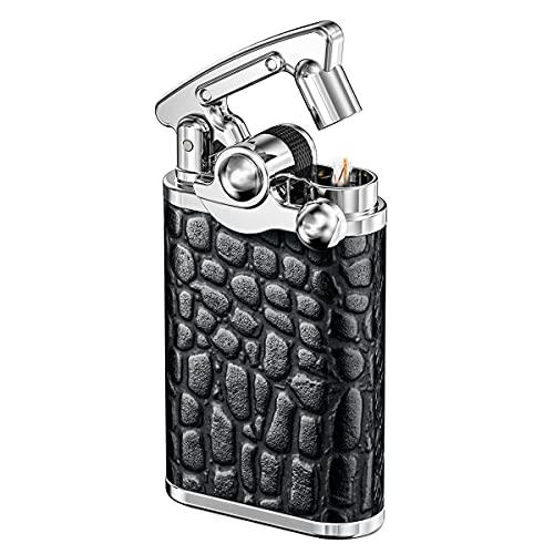 VVAY Vintage Benzinfeuerzeug, Schwarz(Verkauft ohne Benzin)