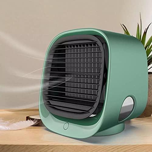 Raffreddatore d'Aria Portatile, Condizionatore d'Aria da Tavolo, con Ventola di Raffreddamento Ad Acqua USB, Umidificatore, Purificatore Multifunzione Estivo,Green