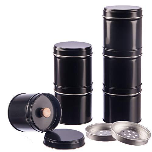 12er Pack Gewürzdosen schwarz stapelbar mit extra Aromadeckel inkl. 6 Etiketten + 2 Streueinsätze | Höhe: je ca. 6,5 cm, Ø je ca. 6,6 cm | Dosen Material: Weißblech | BPA-frei und lebensmittelecht