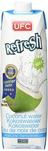UFC Reines Kokoswasser 100% Pure Kokosnusswasser Thailand 1 Litre Packung (Packung mit 6 Stücken)