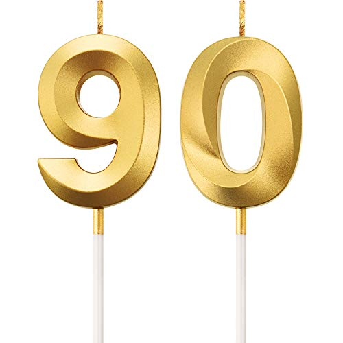 BBTO 90th Birthday Candles Cake Numeral Candles Happy Birthday Cake Topper Decoration for Birthday Party Wedding Anniversary Celebration Supplies (Gold)