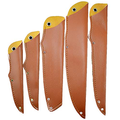 TUYU PU Funda de cuchillo de cuero, Protector de la cuchilla protector, Fundas de cuchillos de cuero, Guardia de la cuchilla, Juego de fundas de cuchillas de 5 TYDB506
