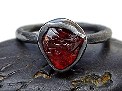 fire opal engagement ring, raw opal ring black silver, organic stone ring opal, uncut fire opal ring molten band, twig opal ring organic