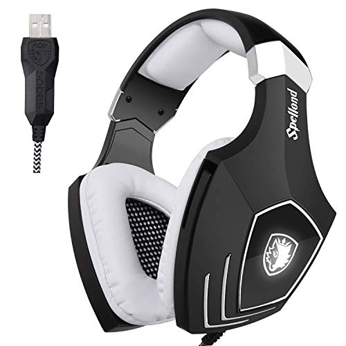 Cuffie da Gioco Con Audio surround Sades OMG Stereo Bass USB e Over-Ear Con Microfono e LED Gaming...