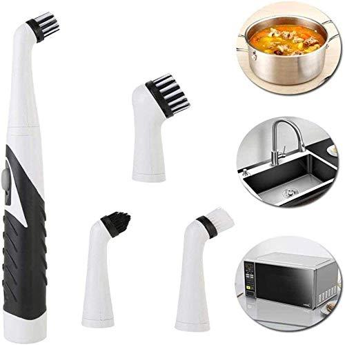 4-In-1 Ultrasone Elektrische Reinigingsborstel Voor Huishoudelijk Gebruik Met 4 Vervangende Koppen, Stofzuiger Voor Vuilolie