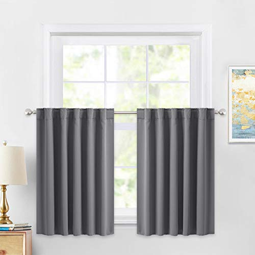 PONY DANCE Window Curtains 36 Inches - Short Valances Tiers Rod Pocket & Back Tab Curtain Panels Light Blocking for Kitchen Bathroom, W 42 x L 36 Inches, Grey, Set of 2