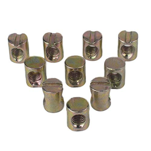 Flammi 10pcs Metric M6 Barrel Nuts Cross Dowels Slotted Nuts for Most Furniture Beds Crib Chairs