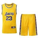 XPQY Los Angeles Lakers Lebron James #23 Conjunto de Uniforme de Baloncesto para Hombre Camiseta de Baloncesto Bordado clásico Camiseta sin Mangas de Baloncesto y Pantalones Cortos