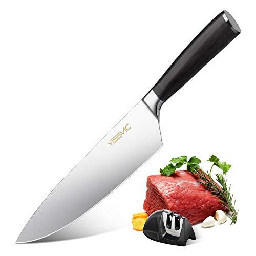 Yissvic Küchenmesser Kochmesser Fleischmesser 20 cm Scharfes Messer Rostfreier Stahl mit Holzgriff und Messerschärfer zum Schneiden Verpackung MEHRWEG